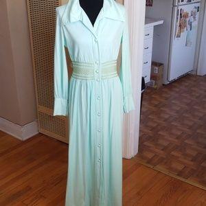 VTG Lillie Rubin Mint Green 70s Boho Maxi Dress